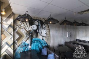 Restaurant Geisha Interior Wall with Granite Finish