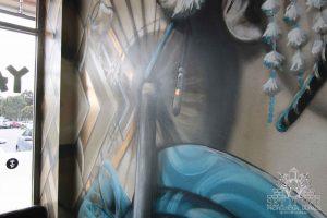Geisha graffiti mural in a restaurant.