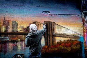 Graffiti mural of New York landscape