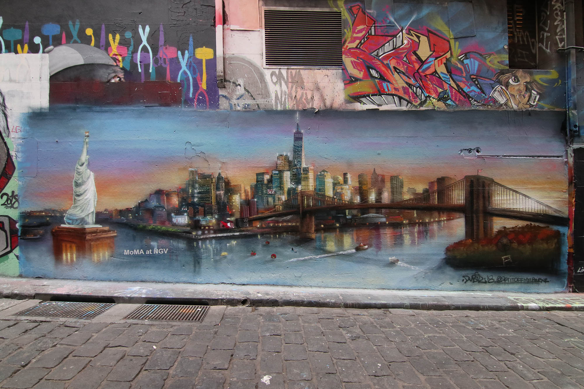 Graffiti mural of New York landscape