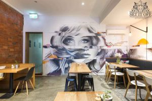 Interior Wall Mural Distorted Portrait