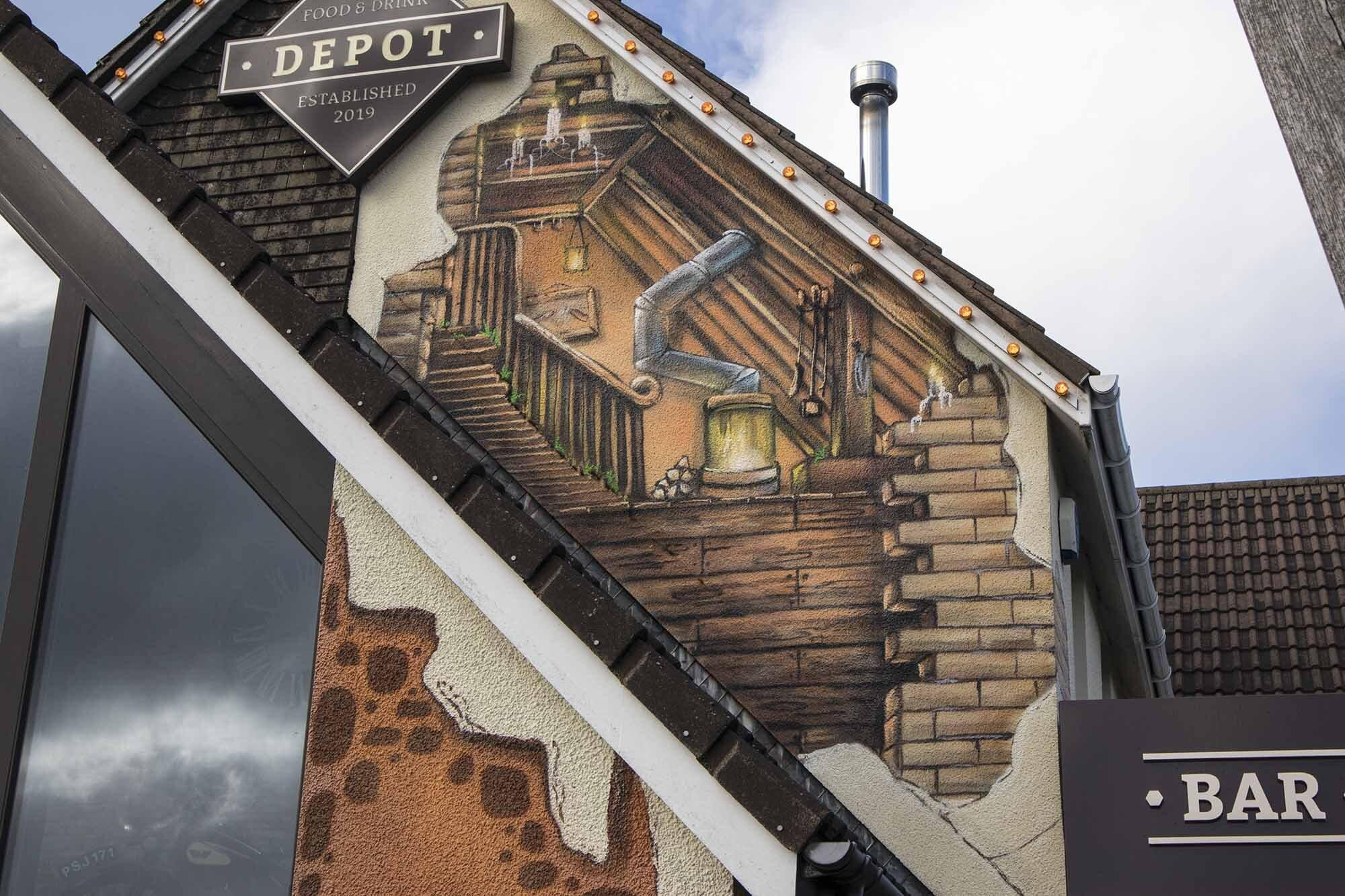 Depot Trompe L'oeil Architectural Mural-front-closeup4