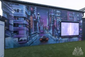 Cityscape Mural Outdoor Cinema