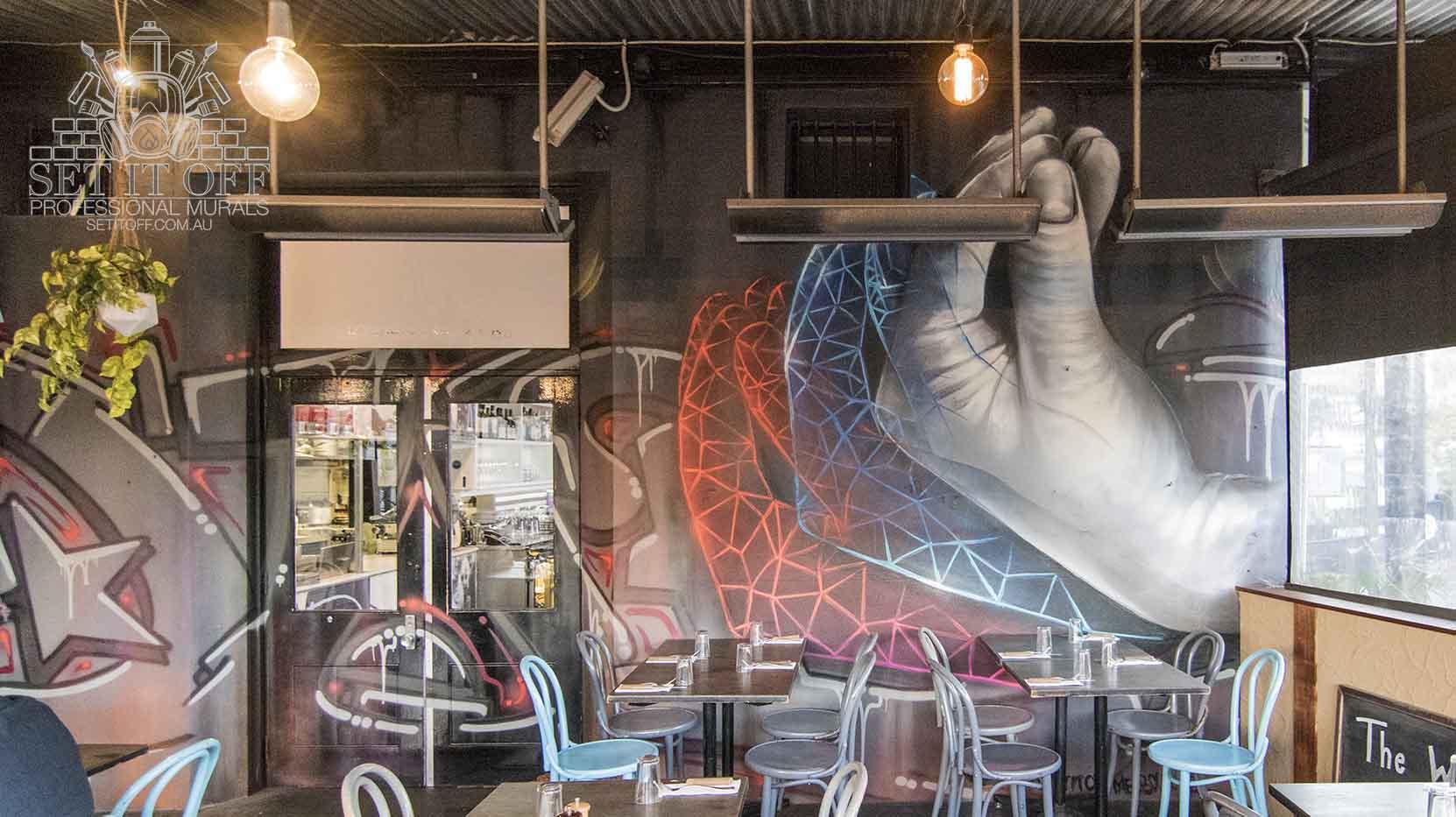 Interior mural in a restaurant