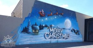 Christmas themed graffiti mural
