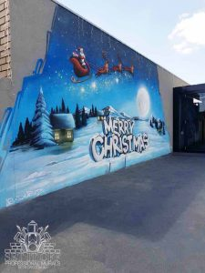Christmas themed graffiti mural