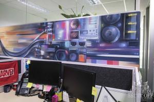 Office Interior Mural - Flux - MachineW