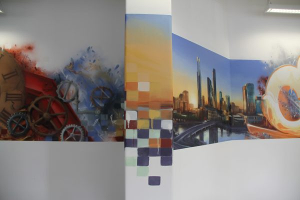 Catapult sports office interior street art wall murals