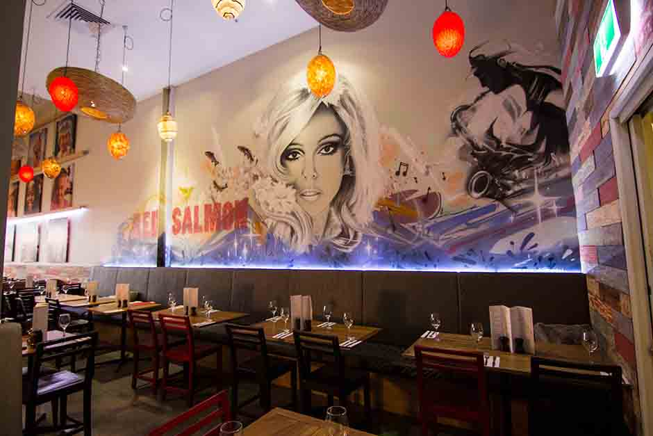 Red Salmon restaurant interior wall murals