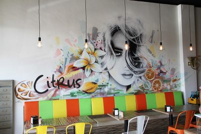 Graffiti portrait in a cafe