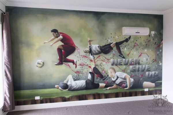 Cristiano Ronaldo graffiti wall mural in kids room