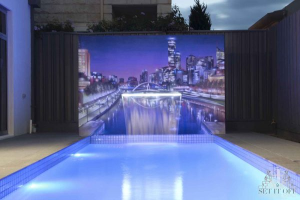 Poolside Wall Art With Fountain