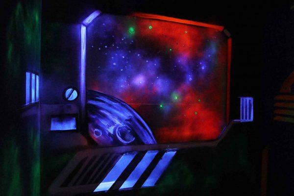Space graffiti in a laser arena